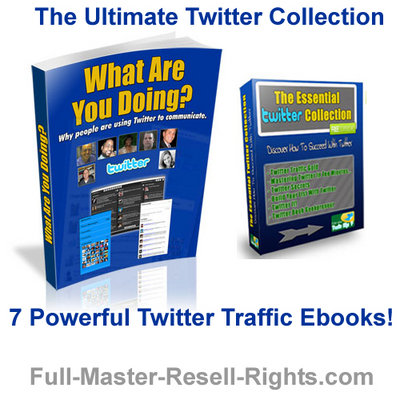 Product picture *NEW!* Ultimate Twitter Traffic  - Collection Of 7 Powerful Twitter Traffic Ebooks - With Private Label Rights (PLR)  and Master Resale Rights (MRR) !!